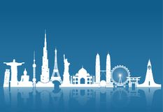 World famous Landmark paper art. Global Travel And Journey Infog Stock Photography