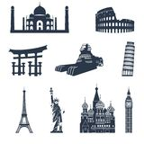 World famous landmarks black Royalty Free Stock Photos