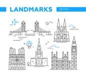 World Famous Landmarks - line design icons set Stock Photography