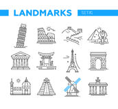 World Famous Landmarks - line design icons set. World Famous Landmarks - illustration of vector line design icons set. Isolated images of Pisa, Eiffel tower Stock Photos