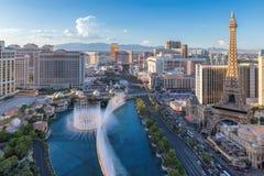 World famous Las Vegas Strip, Nevada, USA. World famous Las Vegas Strip, as seen at sunset on July 24, 2018 in Las Vegas, USA. The Strip is home to the largest stock photos