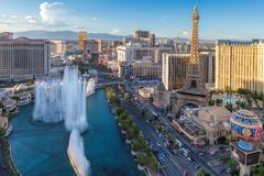 World famous Las Vegas Strip, Nevada, USA. World famous Las Vegas Strip, as seen at sunset on July 24, 2018 in Las Vegas, USA. The Strip is home to the largest royalty free stock image