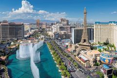 Aerial view of Las Vegas Strip at sunny day. World famous Las Vegas Strip at sunny day on July 24, 2018 in Las Vegas, USA. The Strip is home to the largest stock photography