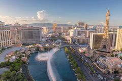 Las Vegas Strip at sunset stock photo