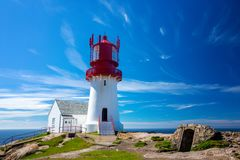 The Lindesnes lighthouse Stock Images