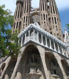 Barcelona city. Spain. City landscape and park views of the city. World-famous masterpieces of modern religious architecture under the rays of the spring sun on royalty free stock images