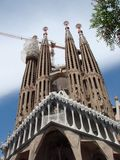 Barcelona city. Spain. City landscape and park views of the city. World-famous masterpieces of modern religious architecture under the rays of the spring sun on royalty free stock photography