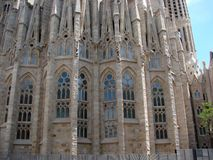 Barcelona city. Spain. City landscape and park views of the city. World-famous masterpieces of modern religious architecture under the rays of the spring sun on stock photography