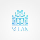 World famous Milan Cathedral. Greatest Landmarks of europe. Linear modern style vector icon symbol of Italy. Royalty Free Stock Photography