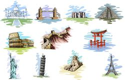 World Famous Monument. Vector illustration of collection of World Famous Monument Royalty Free Stock Images
