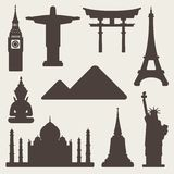 World famous monuments background Royalty Free Stock Images