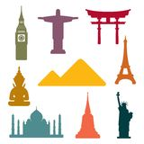 World famous monuments background Stock Image