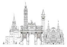 World famous monuments. Paris, London, Moscow Stock Images