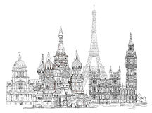 World famous monuments. Paris, London, Moscow Royalty Free Stock Photography