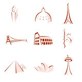 World famous monuments stylized
