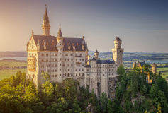 World-famous Neuschwanstein Castle in beautiful evening light, Bavaria, Germany Stock Image