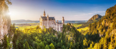 World-famous Neuschwanstein Castle in beautiful evening light, Fussen, Germany Stock Photography