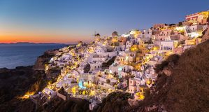 Oia village at sunset, Santorini island, Greece. Royalty Free Stock Photography
