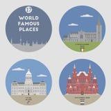 World famous places. Set 17 Stock Photos