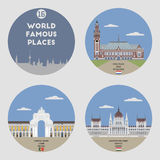 World famous places. Set 16 Royalty Free Stock Images