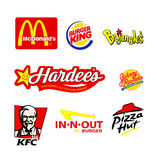 World famous restaurant logos. Collection of the restaurant logos Royalty Free Stock Photography