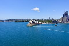Viewing the Opera House from the Harbour Bridge royalty free stock photography