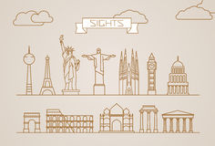 World famous signts abstract lineart vector silhouettes Royalty Free Stock Images