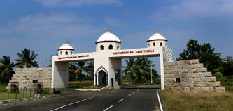The world famous sittanavasal cave jain temple entrance arch. Royalty Free Stock Photography