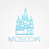 World famous St. Basil Cathedral. Greatest Landmarks of europe.. Linear vector icon for Moscow Russia. Stock Image