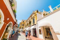 World famous Via Camerelle in Capri island. Capri, Italy . May 25, 2018: world famous Via Camerelle in Capri island royalty free stock photo