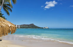 World famous Waikiki Beach with Diamond Head on the Hawaiian island of Oahu. Royalty Free Stock Images