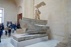 The world famous Winged Victory of Samothrace. The famous antique greek sculpture, presented in the Louvre museum, Paris, France stock photography