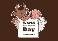 World Farm Animals Day vector. Cartoon characters farm animals. Sad farm animals. Important day stock illustration