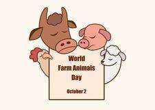 World Farm Animals Day vector. Cartoon characters farm animals. Important day Stock Photos