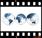World film. Photo frame and Earth map Royalty Free Stock Photography