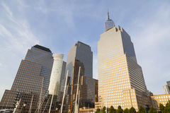 World Financial Center, New York. World Financial Center in New York with the One World Trade Center in the background and the North Cove Marina in the royalty free stock photos