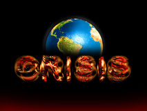The world  financial crisis. Abstract inscription crisis against a planet Stock Images