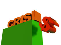 The world  financial crisis. Inscription crisis (abstraction on a theme of falling of dollar Royalty Free Stock Image