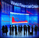 World Financial Crisis. With Silhouettes stock images