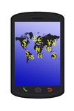 World financial in smart phone Royalty Free Stock Image