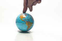 World in a finger Stock Images