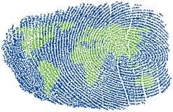 World Fingerprint. World Map represented in a Fingerprint Stock Images