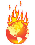 World on fire. Earth On Fire. Isolated on a white background Royalty Free Stock Photography
