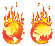 World on fire. Earth On Fire. Isolated on a white background Stock Photography