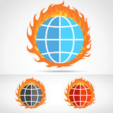 World of fire. Fire on earth, digital world Royalty Free Stock Photo