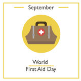 World First Aid Day, September. Vector illustration for you design, card, banner, poster and calendar Royalty Free Stock Photography