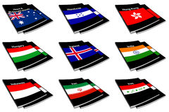 World flag book collection 13 Stock Photos
