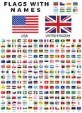 WORLD FLAG COLLECTION WITH NAMES stock images