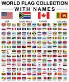 WORLD FLAG COLLECTION WITH NAMES royalty free stock photos
