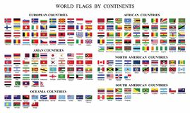 World Flag Collection-World flags by Continents vector illustration